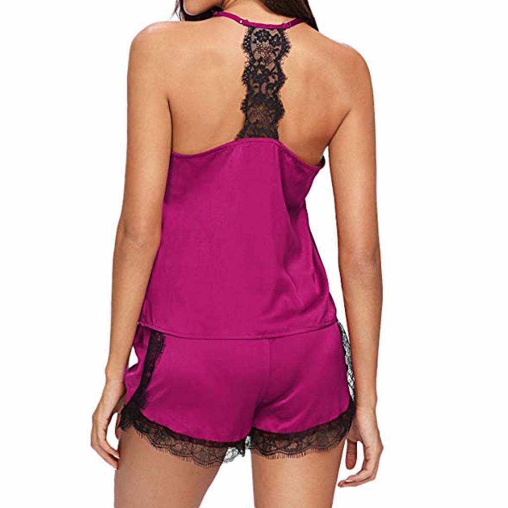 נשים הלבשת פיג 'מות סטי תחרה סאטן ללא שרוולים רצועת Trim Cami למעלה Nightwear נקבה תחתוני חליפת tenu חם ארוטי פורנו inge