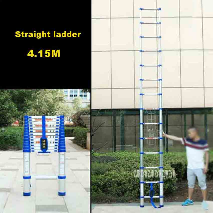New Arrival Portable Household Extension Ladder JJS511 Thicken Aluminium Alloy Single-sided Straight Ladder 4.15M 14-Step Ladder