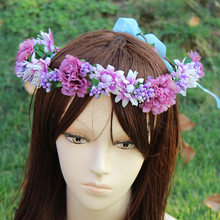 New Women Wedding BIG Sun Flower Wreath headband Girl Party Floral garlands with Ribbon Adjustable flower crown Hair Accessories 2016 new women wedding rose flower wreath headband kids party floral garlands flower crown hair accessories bridal wedding party
