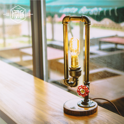 Wood Water Pipe Industrial Vintage Table Lamp Light  For Bedroom Loft Style Luminaria Abajur Para Quarto Lamparas De Mesa