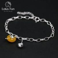 Lotus Fun Real 925 Sterling Silver Natural Amber Handmade Fine Jewelry Vintage Cute Teapot Bracelets for Women Bijoux