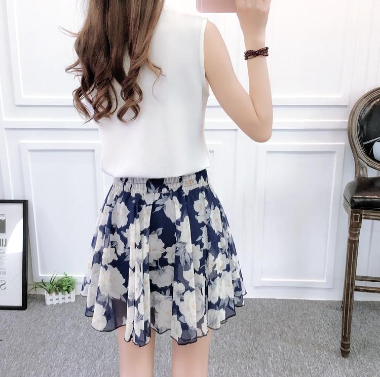 Korean Skirt Casual Chiffon Women Skirts Summer A Line High Waist Short Pink Mini Skirt Pleated Skirt in Skirts from Women 39 s Clothing