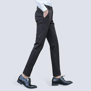 Image 4 - Mens Wrinkle Free Casual Stretch Solid Trouser Pant Flat Front Slim Straight Fit Summer Thin Dark Blue Business Dress Pants