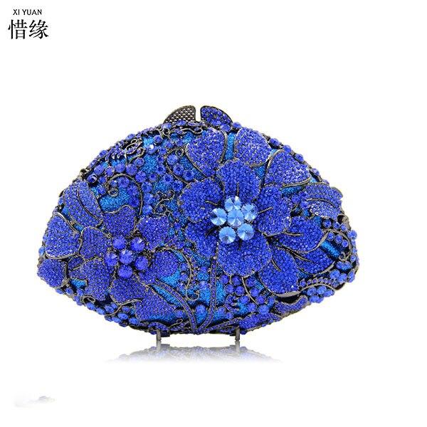 Soirée Bleu Mariage À Or Sac Minaudière D'embrayage Boîte argent Femmes Sacs Petit De Bourse Strass or Main Cristal Bleu Embrayages 7tBYz