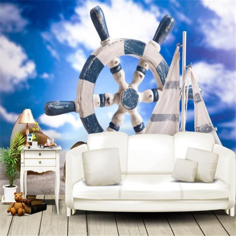 Custom Photo Wallpapers Any Size Murals Blue Sky Wallpaper for Walls 3D Living Room Home Decor Modern White Kids Cartoon Pattern