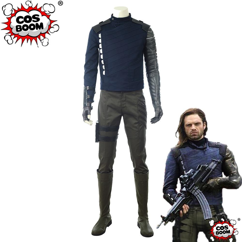 COSBOOM Avengers: Infinity War Bucky Barnes Costume Men's Halloween Carnival Superhero Winter Soldier White Wolf Costume