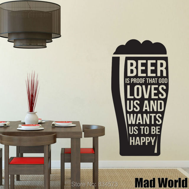 Pazzo Mondo la Birra È Prova di Cucina Amore Wall Art Stickers ...