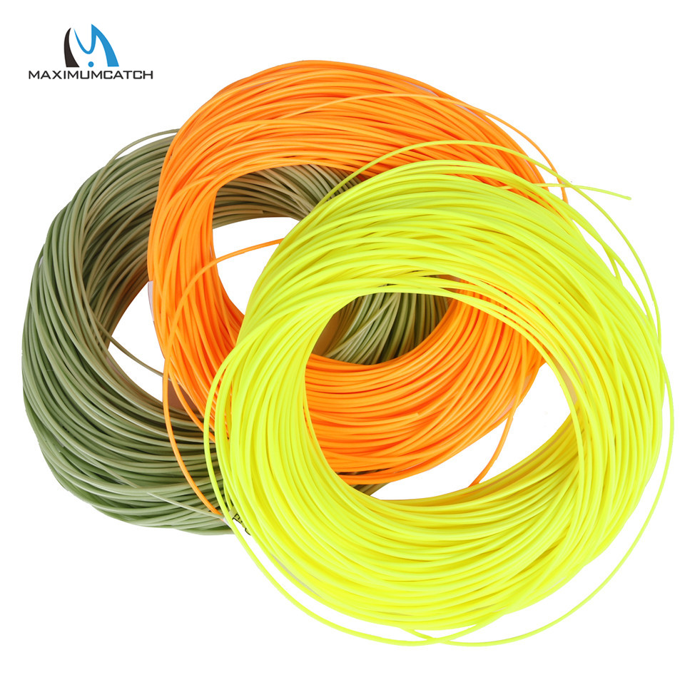 Maximumcatch 1-8WT 100FT DT Fly Fishing Line Dubbla Taper Flytande Flyglinje Grön / Gul / Orange Färg