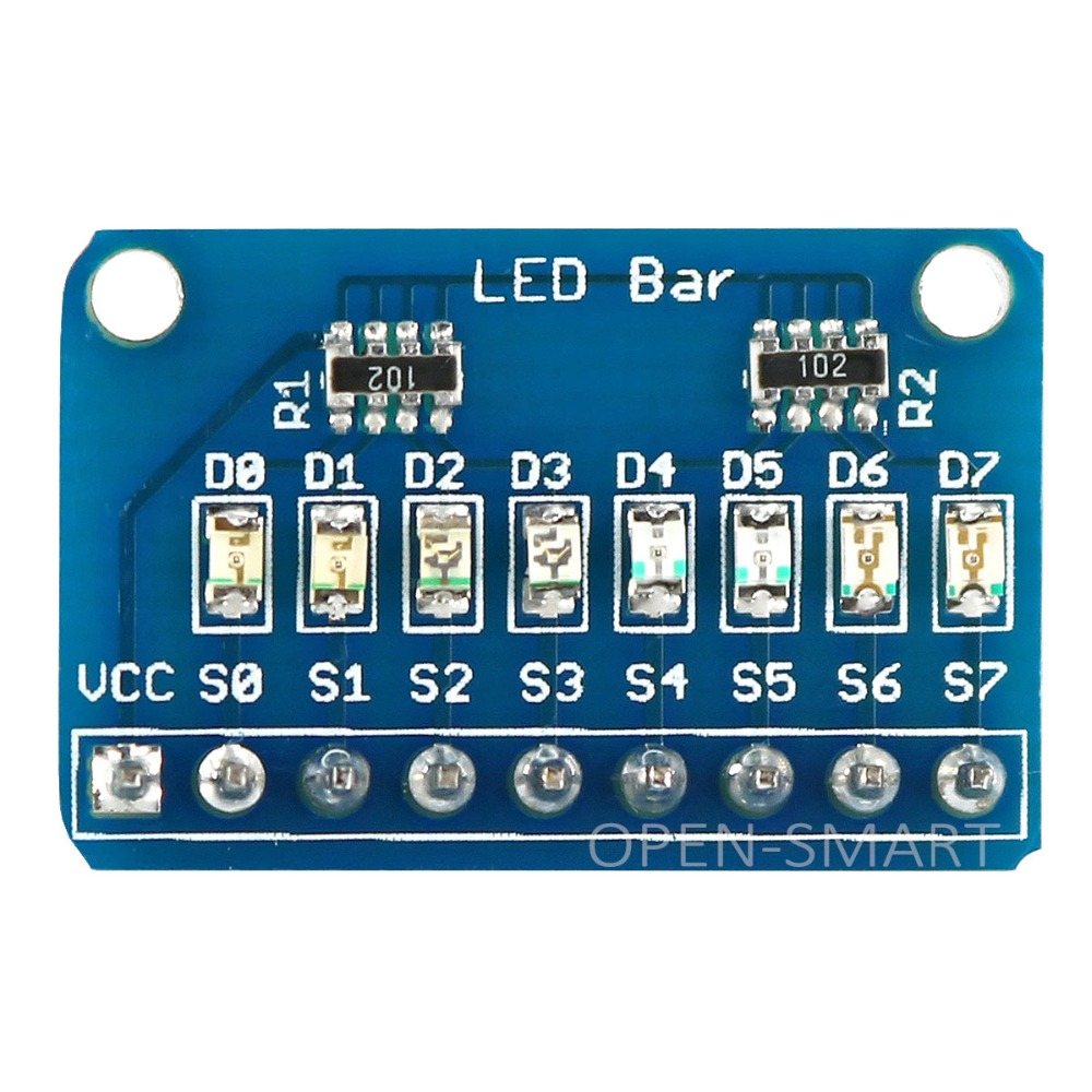 Módulo de exibição conduzido do famoso da barra de 8 bits com 4 tipos de cor para arduino baixo nível pode llight led para o indicador de teste de mcu io