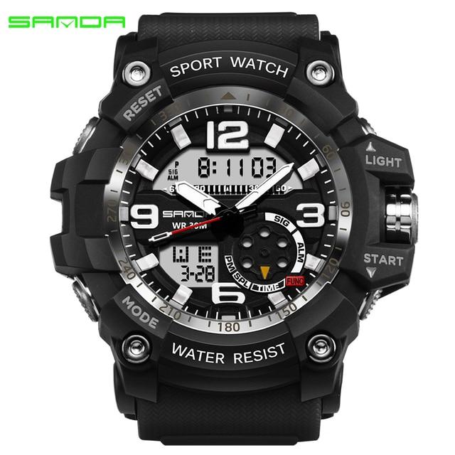 9c6dfe5c7 SANDA Esportes Militares Relógios de Marca Homens Esporte S Choque Relógio  Eletrônico Digital LED Relógio de