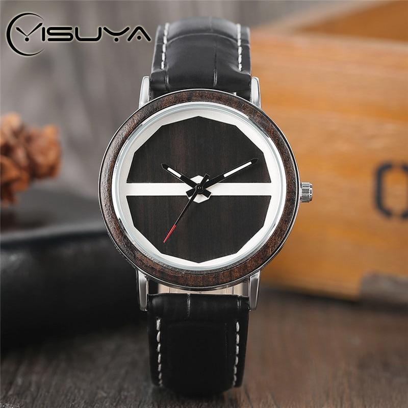 YISUYA Creative Dřevěné hodinky pro dospělé Pánské pravé - Pánské hodinky