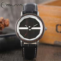Creative Mens Wooden Watches Casual Watch Leather Double Hemi Polygon Sandalwood Bamboo Quartz Wristwatches Male Clock