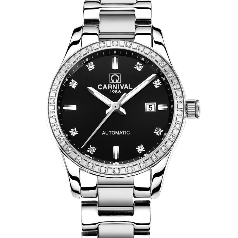 Szwajcaria karnawał kobiety zegarki luksusowe marki panie automatyczne mechaniczne zegarka kobiet wodoodporny relogio feminino 8685L 13 w Zegarki damskie od Zegarki na  Grupa 1