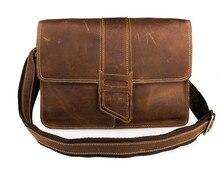 วินเทจสบายๆ100%หนังแท้คนเครซี่ฮMessengerถุงกระเป๋าสะพายหนังวัวผู้ชายC Rossbodyกระเป๋าสีน้ำตาลกระเป๋าเดินทางJ7263