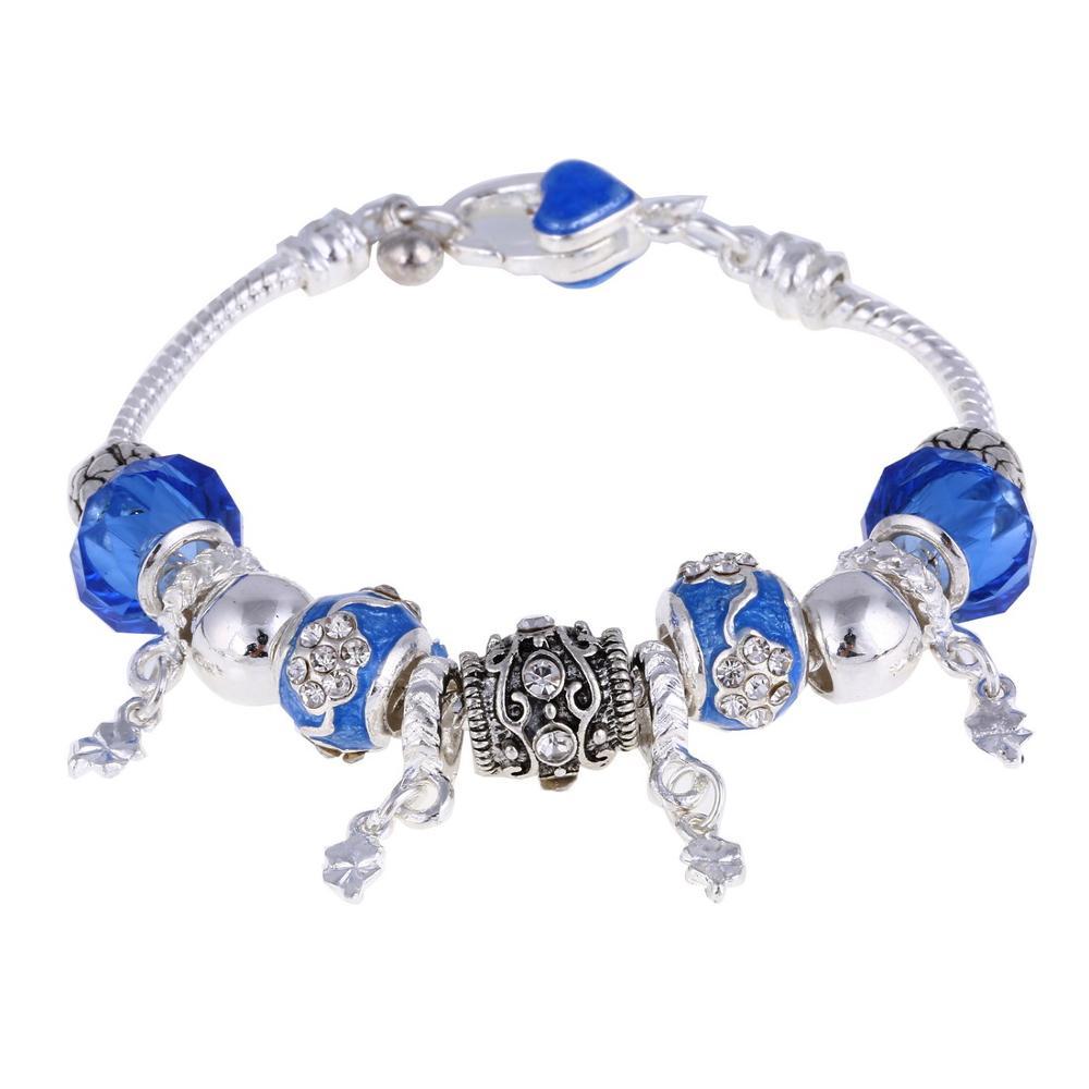 Pink Crystal Charm Silver Bracelets & Bangles for Women  Beads Silver Bracelet Femme Jewelry 22