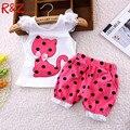 2016 verão conjunto de roupas meninas do bebê Coreano crianças arco gato shirt + short terno 2 pcs crianças polka dot roupas conjunto terno
