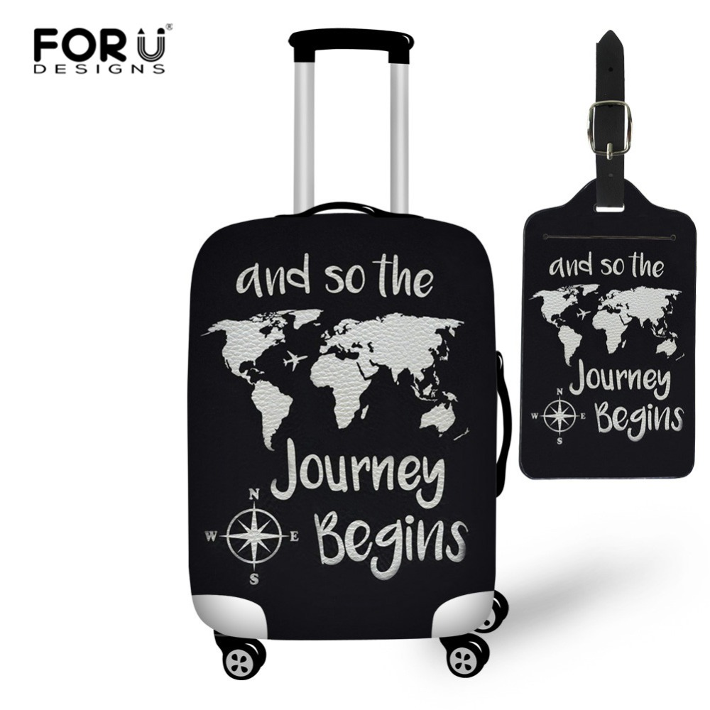 FORUDESIGNS World Map Suitcase Cover For 18-30 Inch Travel Luggage Covers Luggage Tag Anti-dust Trolley Case Protective Cover
