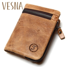 купить Crazy Horse Leather Men's Retro Wallets Short Design Multi-Function  Man Purse Zipper Coin Pocket Man Wallet  Id Card Holders по цене 788.74 рублей