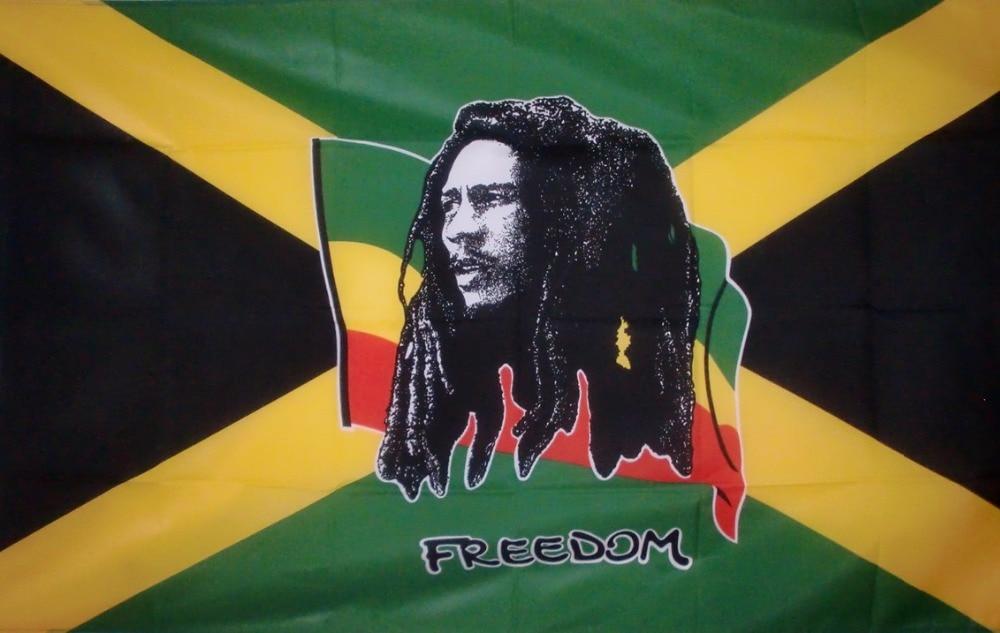 Flaglink 90*150cm Jamaica JAM .jm Bob Marley Freedom Flag-0