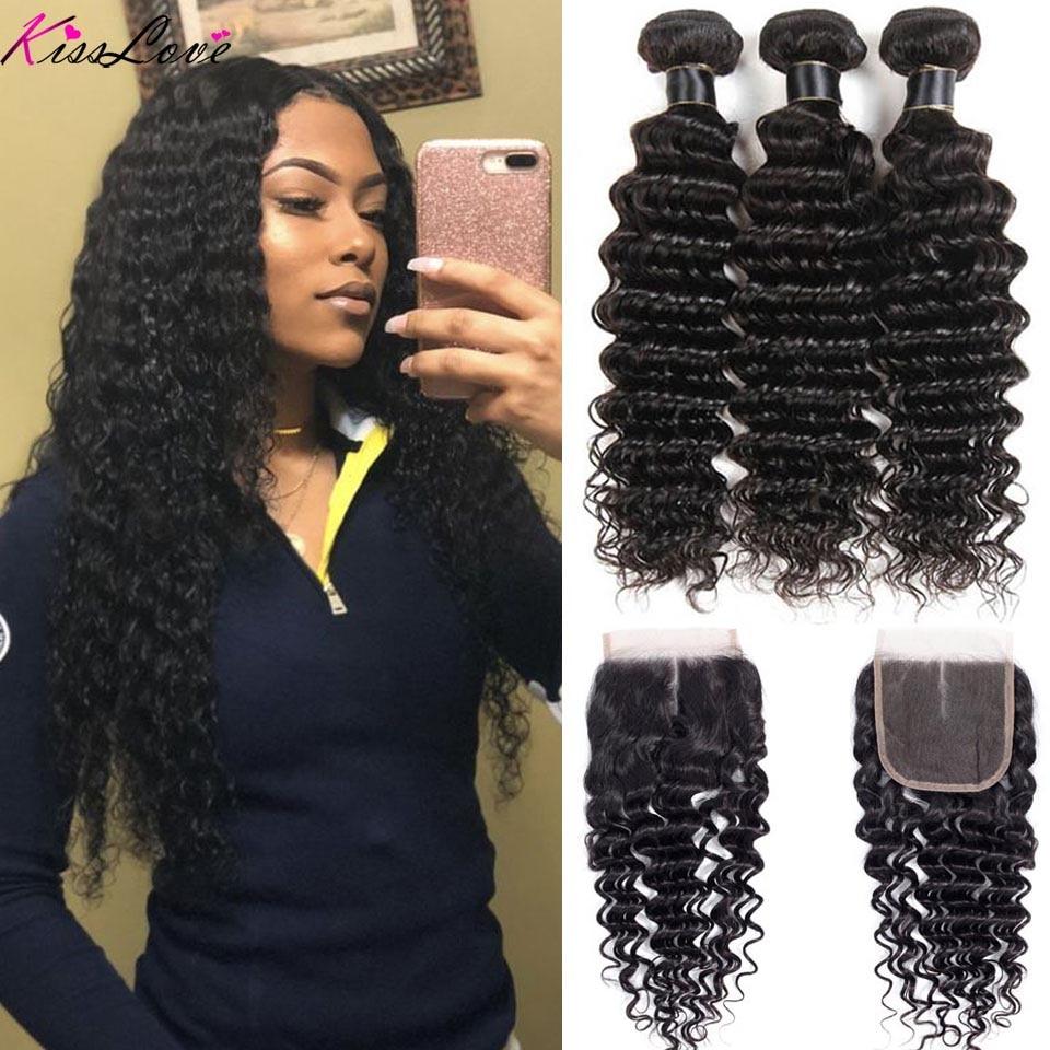 us $41.1 48% off|kiss love brazilian hair deep wave bundles with closure human hair weave bundles with closure 3 bundles with lace closure-in 3/4