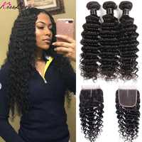Kiss Love Brazilian Hair Deep Wave Bundles With Closure Human Hair Weave Bundles With Closure 3 Bundles With Lace Closure