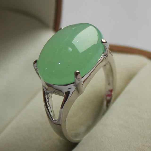 เครื่องประดับหรูหราสุภาพสตรีที่ชื่นชอบแสงสีเขียวหยกเงินชุบแหวน7/8/9 #