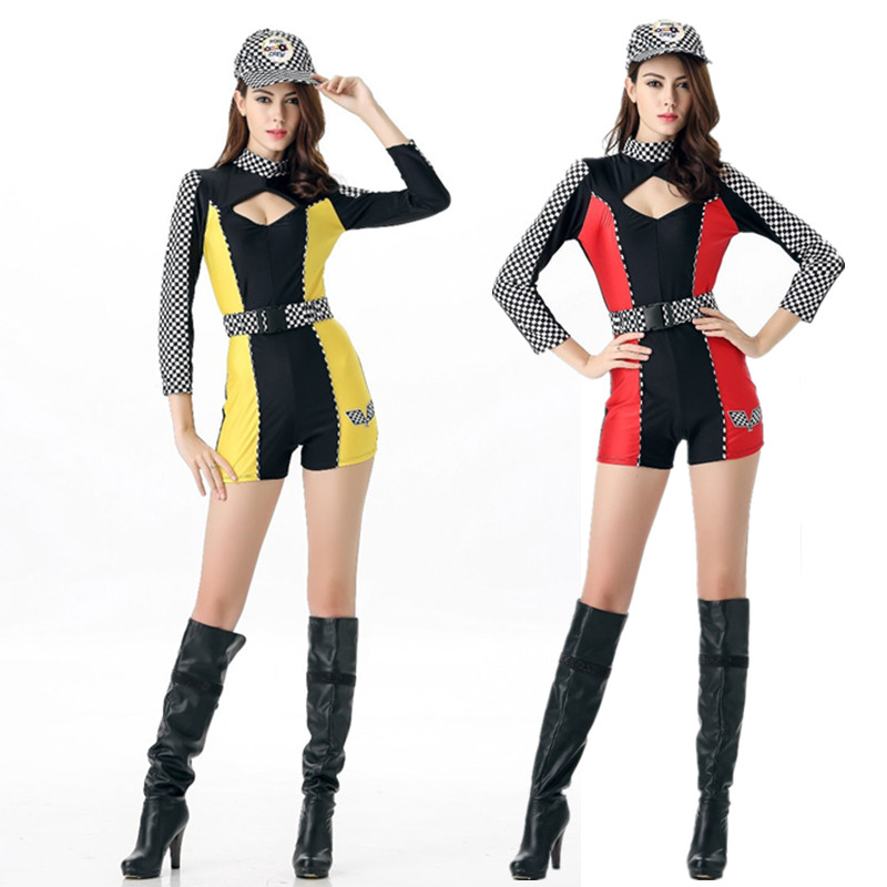 2 Color Sexy Car Racing Costume Women Long Sleeve Sexy racing girl Bodysuit+ Belt +Hat