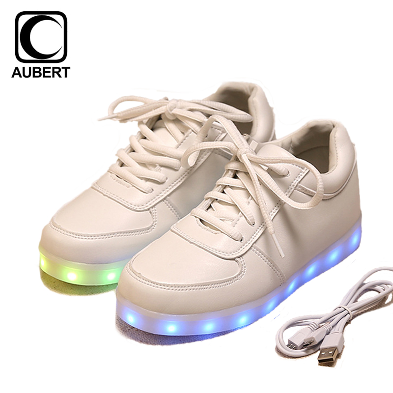 2017 New Children LED Light Shoes Luminous Kids Sneakers USB Charging Glowing Shoes Boys Girls Lace Up Casual Sports Shoes