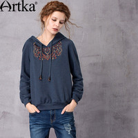 Artka Women S 2017 Spring New Solid Color Ethnic Embroidery Hoodie Vintage Hooded Long Sleeve All
