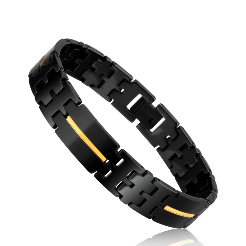 New Arrival Black Plated 12mm Width Luxury Tungsten Carbide Men s Chain Bracelets with Gold Rose
