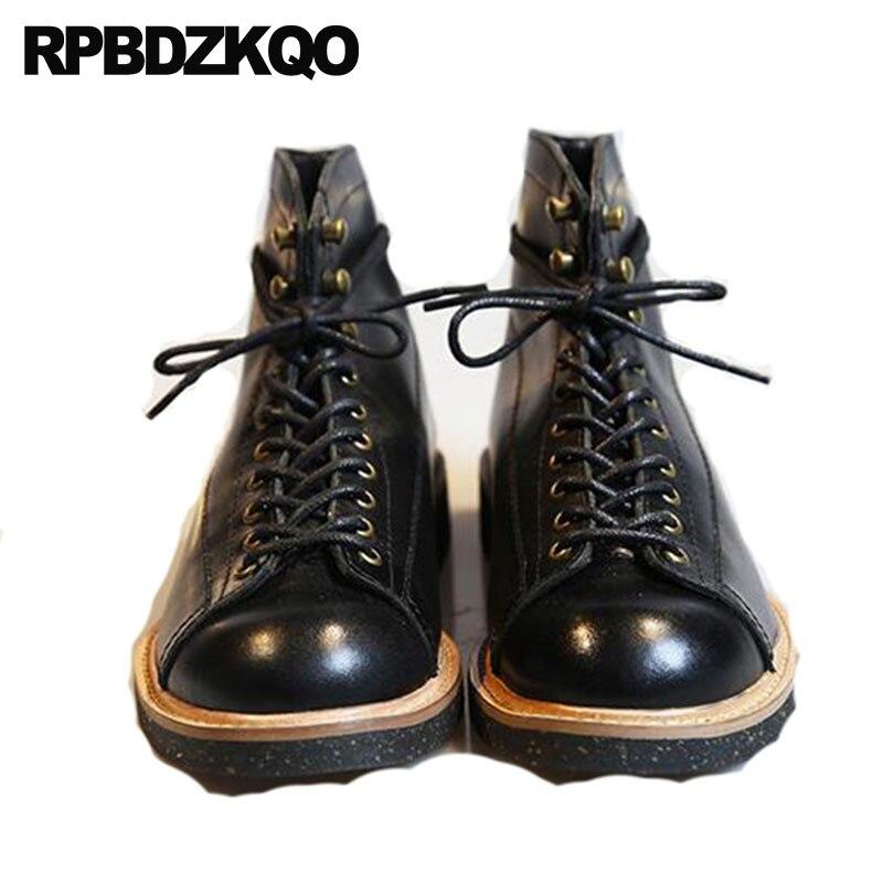 Full Grain Leather Boots Retro Short Black High Quality 2018 Booties Genuine Plus Size Lace Up Autumn Shoes Ankle Men Designer