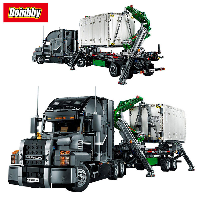 Lepin 20076 Creative Technic Explore Mack Anthem Truck And Trailer Building Block Bricks Toys Kids Gifts Compatible 42078 lepin 20076 technic series the mack big