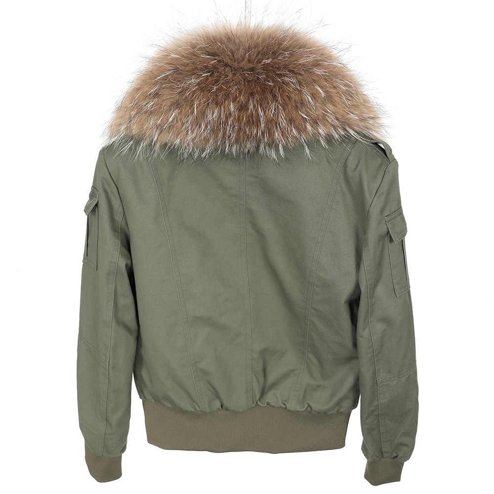Maomaokong2018 新ナチュラルアライグマの毛皮の襟ジャケット飛行スーツ、ショートコートスリムコート克服し、女性