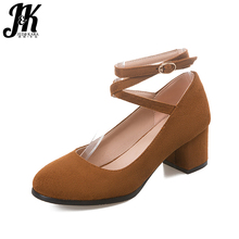 J&K Big Size 32-43 Woman Fashion Thick High Heels Shoes Sexy Narrow Band Gladiator Spring Pumps Leisure All Match Shoes Woman