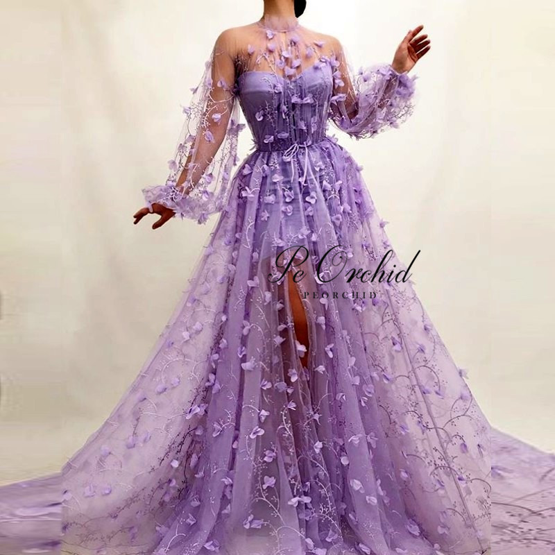 PEORCHID Fitted High Slit 3D Floral   Prom     Dress   Purple 2019 Floor Length Flowers Long Sleeves Evening Gown Vestido De Noche Tul