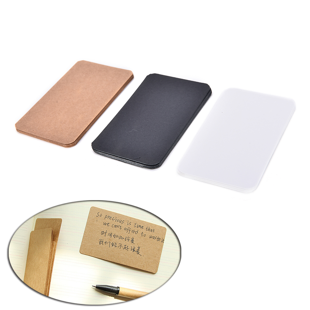 100pcs/lot Diy Business Noted Blank Kraft Card Retro Style Paper Thick Black White Brown Paper Word Cards lumiparty 100pcs double sided blank kraft paper business cards word card message card diy gift card 30