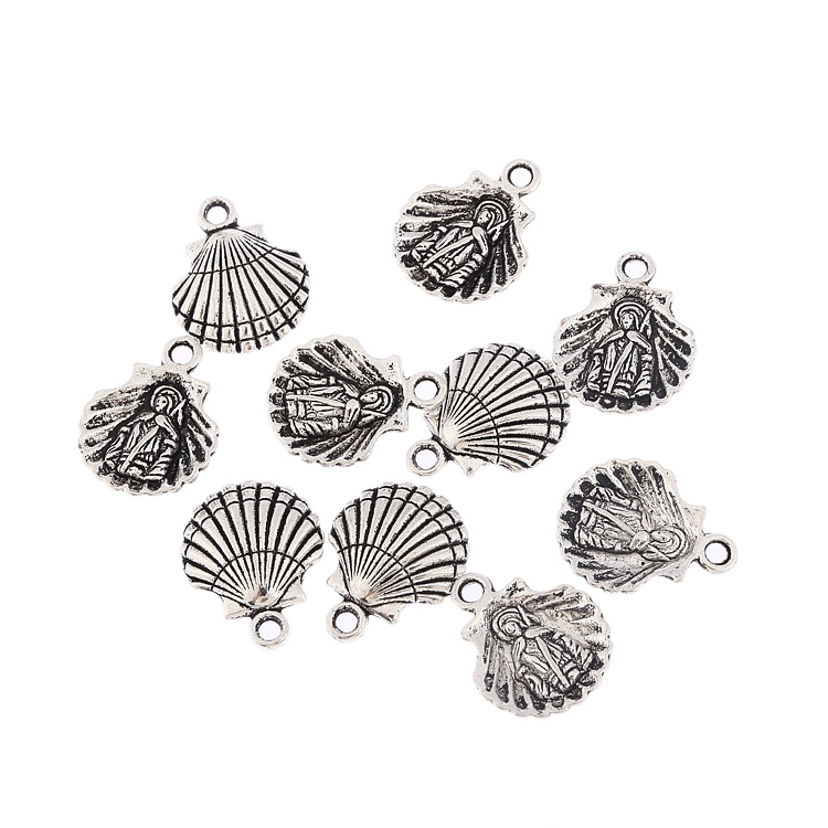 10pcs antique tibetan silver men people clam shell seashell alloy charms pendant fit bracelet necklace DIY jewelry findings