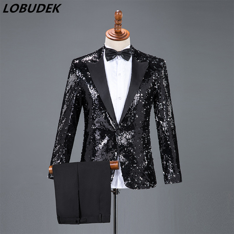 New Men Flipping Sequins Suits Black Red Gold Sequined Blazers Sets Formal Stage Outfits Chorus Dress Singer Host Show Costume
