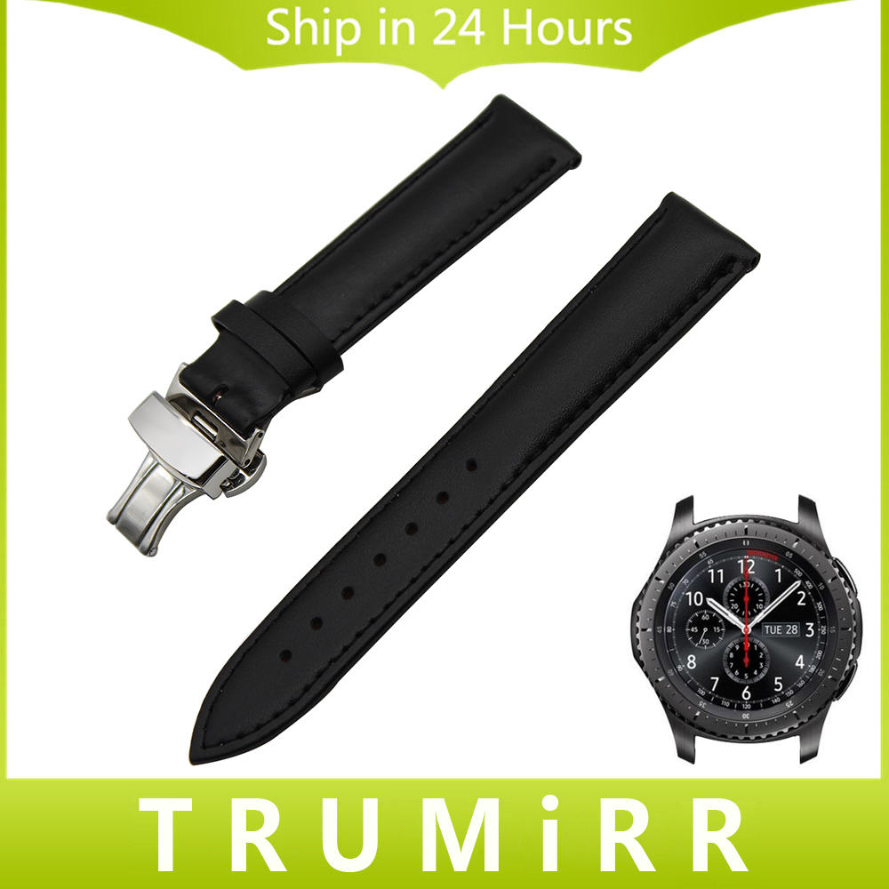 22mm Genuine Leather Watch Band Butterfly Buckle Strap for Samsung Gear S3 Classic Frontier Garmin Fenix Chronos Wrist Bracelet genuine leather crocodile pattern replacement strap band for samsung gear s3 classic frontier smart watch black