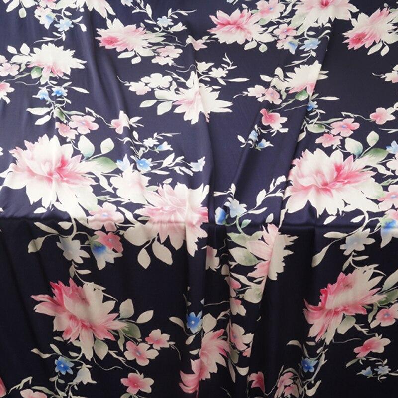 140 CM de large 19 MM rose imprimé Floral 90% soie 10% Lycra Stretch bleu foncé soie Satin tissu pour robe Cheongsam pantalon chemise H445