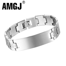 Купить с кэшбэком AMGJ Men Custom Bracelet Jewelry Stainless Steel Chain Wristband Bracelets for Men Watch Chain Bracelets Fashion Design Gift