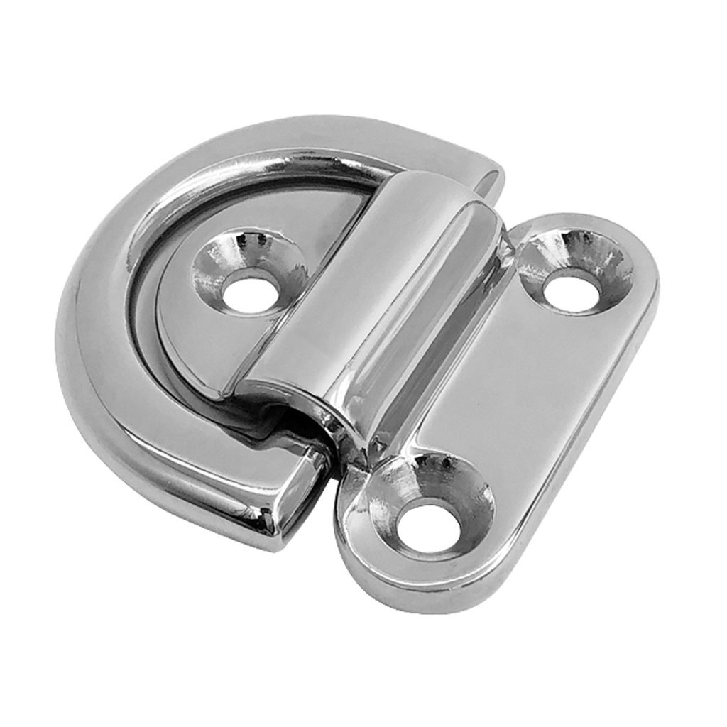 Heavy Duty 316 Stainless Steel Small Folding Pad Eye Deck Lashing D Ring Staple Cleat for Trailer Marine Boat RV Caravan 6 mm image