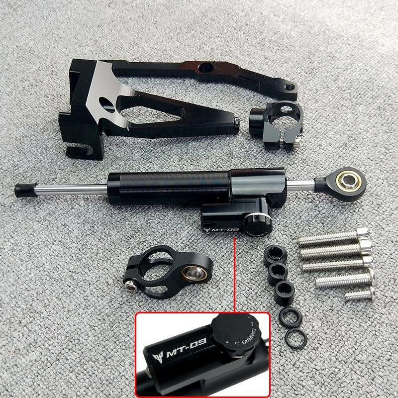 Qiilu Motorcycle CNC Steering Damper Mounting Bracket Stabilizer for 09//MT-09 Tracer 15-17