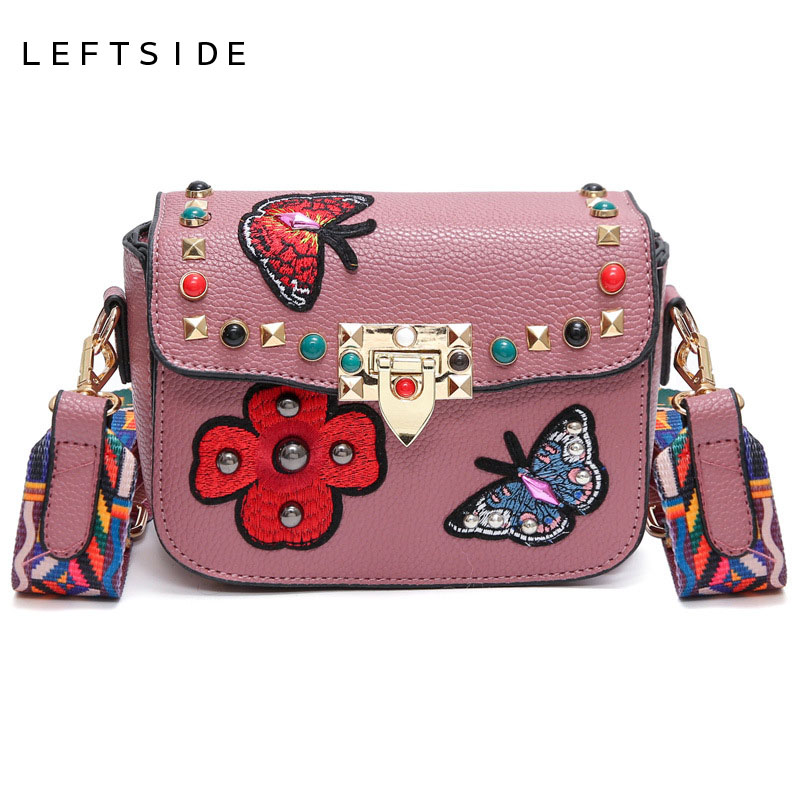 LEFTSIDE 2017 Handbag Crossbody Handbags Small Rivet Butterfly Flower Embroidery Messenger Bag Lock Embroided Bags Colors