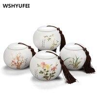 Storage Tank Ceramic Food Box With Cover Top Grade Crackle Jingdezhen Celadon Ceramics Tea Caddy Tea