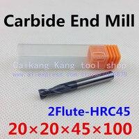 New 2 Flute Head:20mm Carbide End mills Machine Tool CNC Milling Cutter Highest cutting hardness: 45HRC 2F 20*20*45*100mm