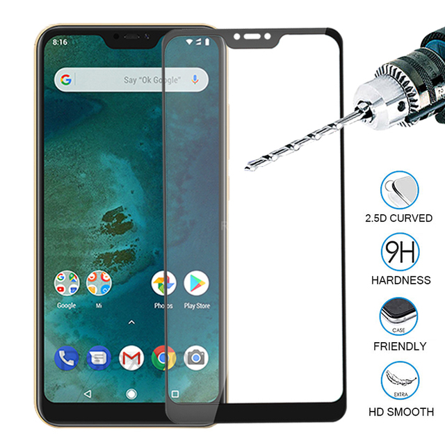 Protective Glass on For Xiaomi mi a2 lite light Full Cover on xiomi mia 2 light Screen Protector Tempered Glass for redmi 6 pro
