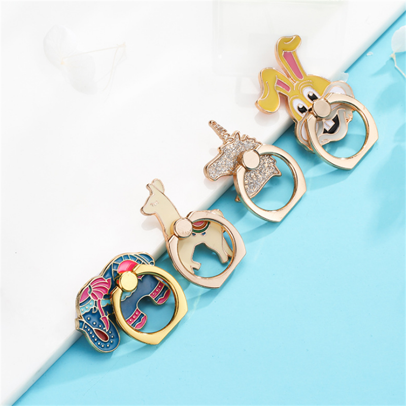 UVR Reusable Unicorn Finger Ring Smartphone Elephone Alpaca Metal Stand Holder Phone Holder Stand For IPhone Huawei All Phone