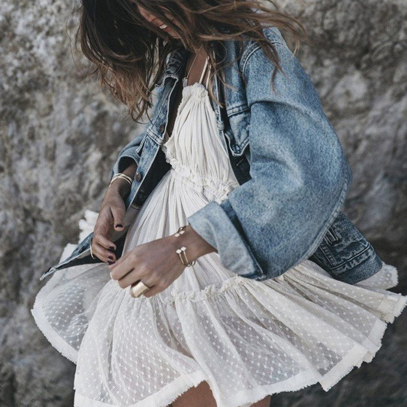 Summer Lace Boho Dress Women Backless Strapless Beach Dresses Ball Gown Hippie Chic Mini Dress Bohemian Clothing for Women