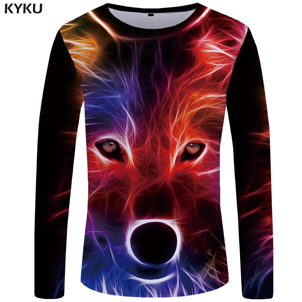 KYKU Wolf T shirt Men Long sleeve shirt Love Streetwear Snow Graphic Mountain Clothes Jungle 3d T-shirt Hip hop Mens Clothing 3